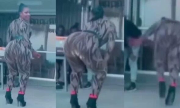 [Watch] Slay Queen In High Heels Falls While Shaking Her Backside